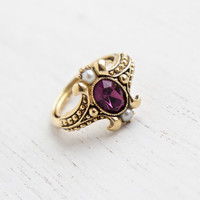 Vintage Faux Amethyst & Pearl Ring - Retro 1970s Gold Tone Signed Avon Purple Stone Victorian Revival Costume Jewelry / Queensbury 1974