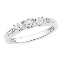 1/7 CT. T.W. Diamond Three Stone Ring in Sterling Silver