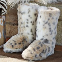Fur Booties - Snow Leopard