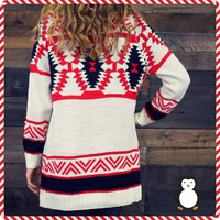 Breckenridge Red Open Sweater Cardigan