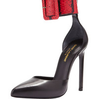 Saint Laurent Snake & Leather Ankle-Strap Pump, Black/Red