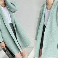 106---Women's Boiled Wool Tulip Cocoon Mint Coat, Supersized, Oversized, Notched Lapel Unlined Coat, Winter Sweater Jacket for Petites.