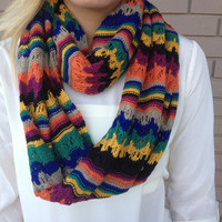 All The Tribes Zig Zag Knit Infinity Scarf