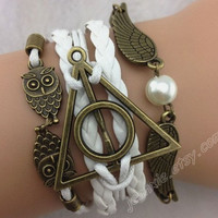 Deathly Hallows Bracelet, Wings, Angel Wing, Pearl, Deathly Hallows, Owl,white Wax Cords and Leather Braid, Christmas gift J-176
