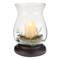 Bethlehem Lights 14 Hurricane & Luminara Candle w/ Greenery — QVC.com