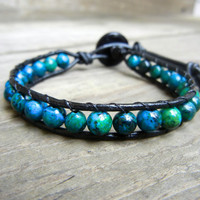 CYBER MONDAY SALE! Mens Unisex Beaded Leather Single Wrap Bracelet Blue Green Australian Jasper Beads on Black Leather Stackable Bracelet