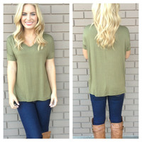 Olive Basic Short Sleeve Modal Top