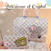Christmas Sales - Lovely combination with Mouse and Cheese - Handbag and Wallet in Damier Style ( M