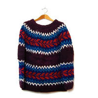 STOREWIDE SALE... vintage oversized wool sweater. fair isle sweater. chunky hand knit.
