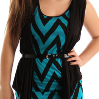 Black Teal Chic Zig Zag Stripe Plus Size Dress With Belt