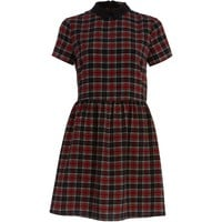 RED TARTAN COLLARED SKATER DRESS