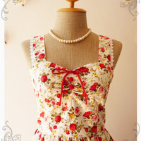 Vintage Style Dress Red Floral Tea Dress Bridesmaid Dress Vintage Inspired Dress -Size S-