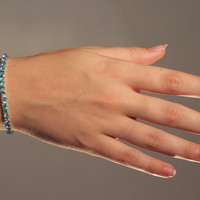Breathtaking Swarovski Tiffany Set Aquamarine Light Blue Rhinestone Bracelet