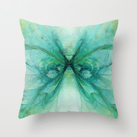 Butterfly Blue Throw Pillow by Ally Coxon