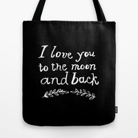 To the Moon and Back Tote Bag by Rebecca Allen