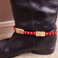 Spruce Up Your Boots! Beaded Boot Bracelet w Red Sponge Coral and Natural Brown Feldspar; Boot Jewelry