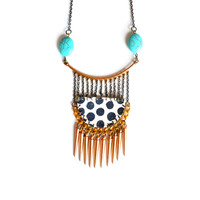 Geometric Brass Spike Turquoise Necklace, Handmade Native Beaded Jewelry | Boo and Boo Factory - Handmade Leather Jewelry
