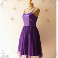 Purple Bridesmaid Dress Party Dress Tutu Prom Dress Vintage Style Wedding Graduation Evening Dress Tutu Dress -Fairy Romance -Size S-