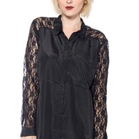Adorable Florals Lace Sleeve Plus Size Button Up Top - Black
