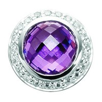 Story by Kranz & Ziegler Sterling Silver Amethyst And Cubic Zirconia Button Charm - Story By Kranz & Ziegler from Jon Richard UK