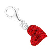Simply Silver Red crystal sterling silver heart charm - Simply Silver from Jon Richard UK