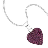 Simply Silver Purple crystal sterling silver heart pendant necklace - Simply Silver from Jon Richard UK
