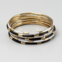 Set Of 6 - Black, Gold And Ivory Striped Bangles