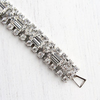 Vintage Clear Rhinestone Bracelet - Silver Tone 1950s Hollywood Regency Bridal Costume Jewelry / Sparkly Faux Diamonds