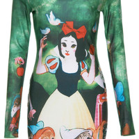 ROMWE | ROMWE Cat Snow White Print Long-sleeved Dress, The Latest Street Fashion