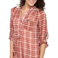 Plaid Chiffon Button Down Top with Floral Details