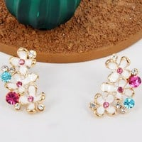 Colorful Flower Bushes Rhinestone Earrings