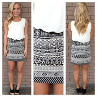 White Chiffon Black Geo Print Dress with Belt
