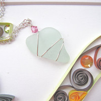 Sea foam Aqua colored Heart shaped Sea Glass Wire Wrapped Jewelry - Cute holiday gift for beach lovers FREE SHIPPING