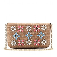 EMBELLISHED STRAW SHOULDER BAG