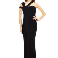 BADGLEY MISCHKA Black Asymmetrical Strap Flowing Gown