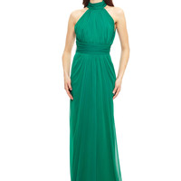 BADGLEY MISCHKA Emerald Micro Pleat Halter Gown