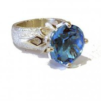 Blue topaz flake ring | Dafna Dagan