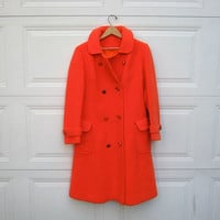 STOREWIDE SALE... 1960s orange coat. women's winter coat.