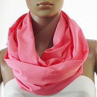 Solid Pink Infinity Scarf - Circle Loop Scarves - Long Shawl Scarf Soft Cozy Fashion Scarf - Gift Handmade Accessories for Women
