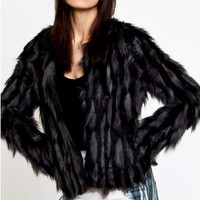 Gray Faux Fur Coat - $97