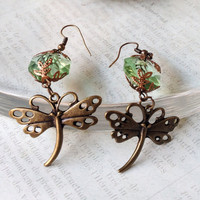 Dragonfly Earrings, Green Earrings, Chandelier Crystal Earrings, Chandelier Earrings, Victorian Earrings, Garden Earrings, Wedding Jewelry