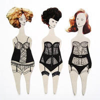Art Paper dolls / bookmarks / set of 3 / bachelorette party / hen night / book club / lingerie