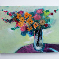 Acrylic Painting Still Life Contemporary Floral Orange and Pink Flowers