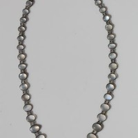 "Vintage Sterling Silver & 43 Genuine Moonstone Necklace 19"" Long"