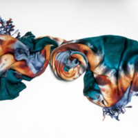 Pashmina Scarf Teal, Rust, and Misty Blue