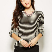 Stripe Pop Zip Back Pullover