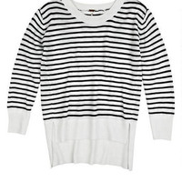 Stripe High-Low Pullover
