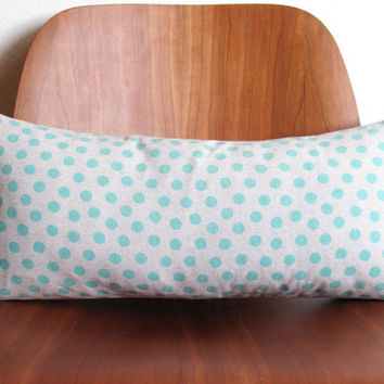 Aqua Blue Polka Dot Pattern Rectangle Pillow