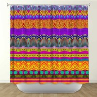 Shower Curtain Artistic Designer from DiaNoche Designs by Arist Pom Graphic Design Home Décor and Bathroom Ideas - Earth Layers