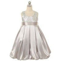 Kids Dream Kids Dream Silver Sequin Satin Bubble Christmas Dress Toddler Girls 2T